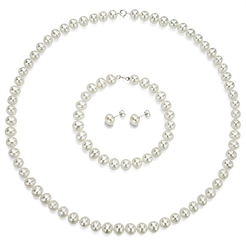 Sterling Silver 7-7.5mm White Freshwater Cultured Pearl Necklace, Bracelet and Stud Earrings Set by La Regis Jewelry