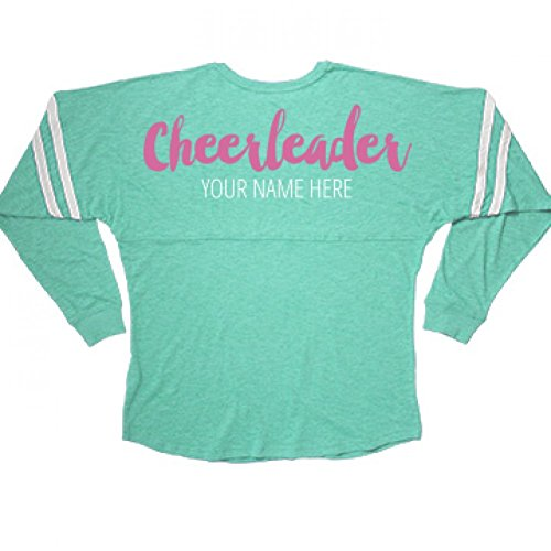 [Pink Glitter Text Cheerleader Gift: Misses Slub V-Neck Jersey] (Cute Cheerleading Outfits)
