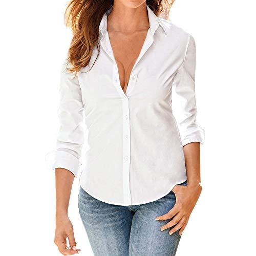 Office Affaires Manche Shirt Automne Loisir Longues Haut Blanc Revers Boutonnage Mode Spcial Uni Chemise Top Blouse Printemps Manches Slim Style Elgante Fit Simple Femme 0BcTH