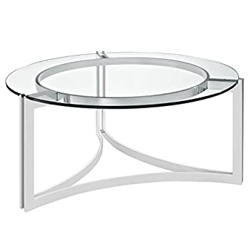 Modway Signet Stainless Steel Coffee Table in Silver