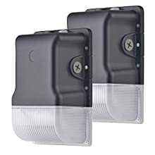 Okayledlight LED Wall Pack Light,30W 3900lm 5000K (Dusk-to-Dawn Photocell,Black,Waterproof IP65), 100-277Vac,Replacement,Outdoor Security Lighting (2 Pack)