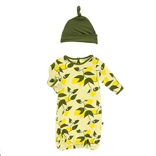 Kickee Pants Little Girls Print Layette Gown & Single Knot Hat Set - Lime Blossom Lemon Tree, 0-3 Months