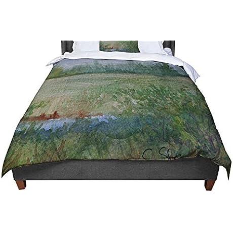KESS InHouse Cyndi Steen Land That I Love Green Blue Queen Comforter 88 X 88