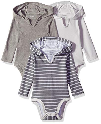 Hanes Ultimate Baby Flexy 3 Pack Hoodie Bodysuits, Grey Stripe, 6-12 Months