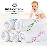 Baby Washcloths Muslin Cotton Baby Towel Soft Baby Wipes and Muslin Burp Cloth for Newborn Baby or Sensitive Skin (5 Pack, 10x10 inches)