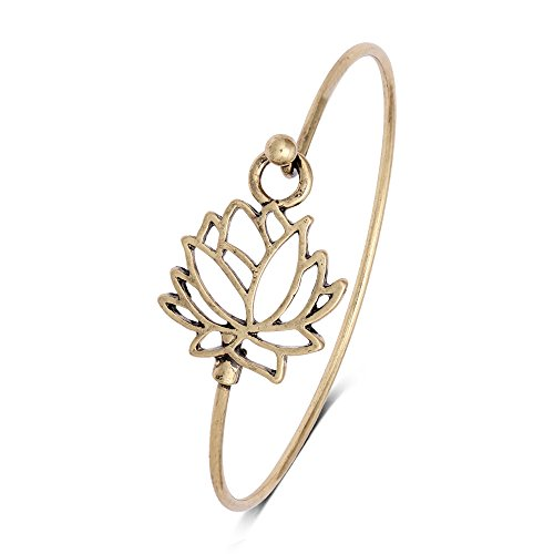 Style Antique Bracelet (NOUMANDA Summer Style Pretty Lotus Flower Easy Open Hook Bracelet Bangle (antique gold))