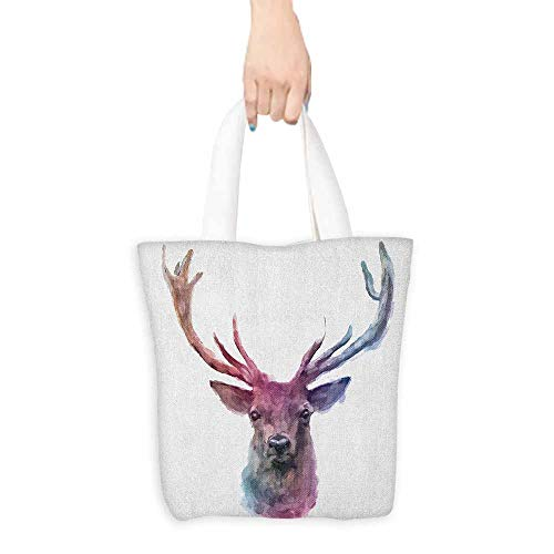 Craft canvas bag Deer Illustration of Male Stag with Soft Pale Colors Antlers Wildlife Nature Artful Print Daily wallet handbag 16.5