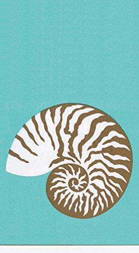 Paper Nautilus Shell - Caspari 3-Ply Paper Nautilus Turquoise, 15 Count Guest Towel Napkins, Set of 2