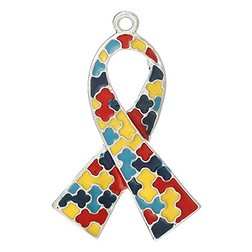 - 10 Large Autism Awareness Puzzle Piece Ribbon Pendant Jewelry Charms Package of 10
