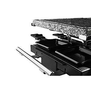Artestia 10 Person Large Stainless Steel Electric Raclette Grill with Two Half Size Plates (Non-Stick Aluminum and Granite Stone),High Power 1500W, (Stainless Steel Half Stone/Aluminum for 10 persons)