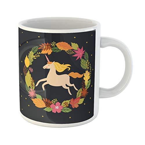 Semtomn Funny Coffee Mug Autumnal Hello Fall Autumn Unicorn on Back Scool Clipart 11 Oz Ceramic Coffee Mugs Tea Cup Best Gift Or Souvenir