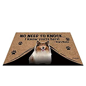 """BAGEYOU Personalized Dog's Name Outdoor Doormat with My Love Dog Rough Collie Welcome Floor Mat Not Need to Knock I Know You're Here 23.6"""" X 15.7"""" 2"""
