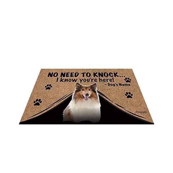"BAGEYOU Personalized Dog's Name Outdoor Doormat with My Love Dog Rough Collie Welcome Floor Mat Not Need to Knock I Know You're Here 23.6"" X 15.7"" 1"