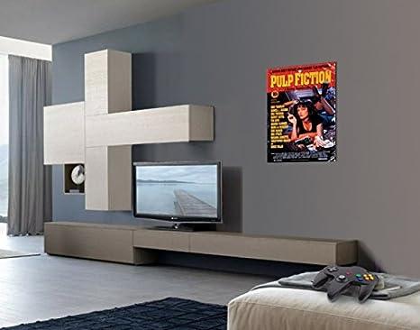 1art1 Pulp Fiction - Cartel De La Película, Quentin Tarantino Cuadro, Lienzo Montado sobre Bastidor (80 x 60cm): Amazon.es: Hogar