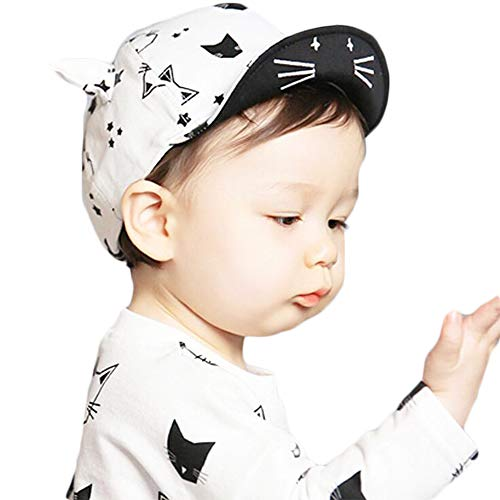 DANMY Baby Boy Baseball Cap Striped Sunhat Girl Brim Sun Protection Bow Hat (ox Horn- White) ()