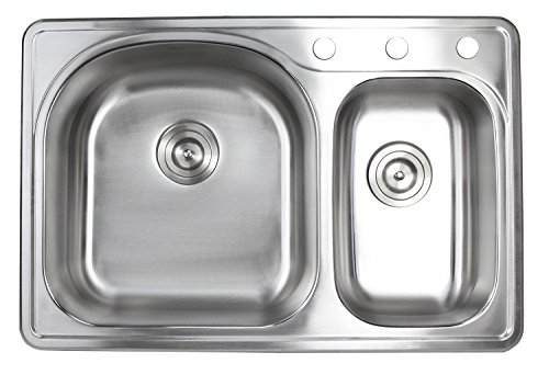 33 Inch Top-mount/Drop-in Stainless Steel 70/30 Double Bowl Kitchen Sink With 3 Faucet Holes - 18 (Stone Drain Replacement Cap)