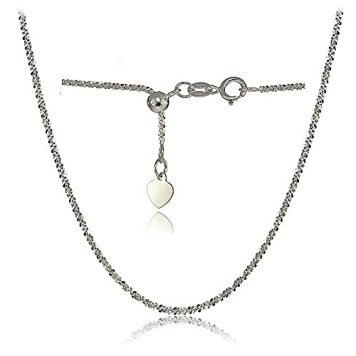 Bria Lou 14k White Gold 1.3mm Italian Rock Rope Adjustable Chain Necklace, 14-20 Inches by Bria Lou