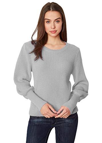 525 America Women's Bishop Sleeve Cotton Shaker Sweater Heather Grey Melange, Small