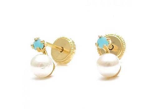 Pendientes de bebé de oro 18 Klts M.A-PEN-07 (Perlas y Turquesitas ...