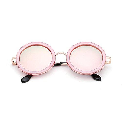 Hombres 100 gafas Gris Retro Pink sol UV Solar Protección Redondo Clásico Anti Decoración UVA Polarizada WYYY Color Sra Luz de Protección Marco RCSddB