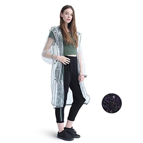 Adult Raincoat, LtrottedJ Reflective Lightweight Transparent Hooded Raincoat Waterproof Raincoat Reusable Rain Poncho for Adults - Tap Torx