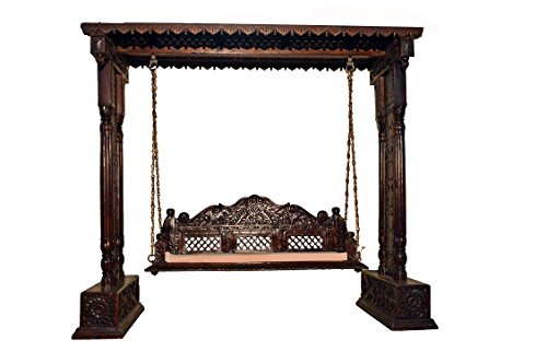 Jali Flower Design Wooden Carved Royal Swing Set / Indoor Jhula