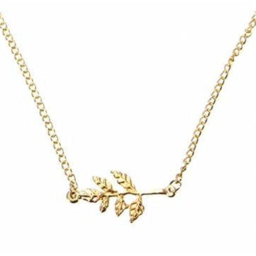 bodya Glod Tone simple arbre branche en métal feuilles colliers pendentif feuille femmes cadeau de Noël Fashion Jewelry