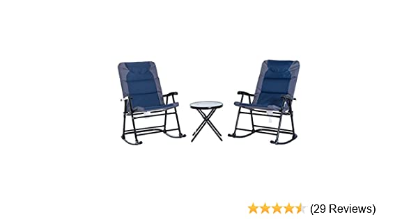 Amazon Com Outsunny 3 Piece Outdoor Folding Rocking Chair And