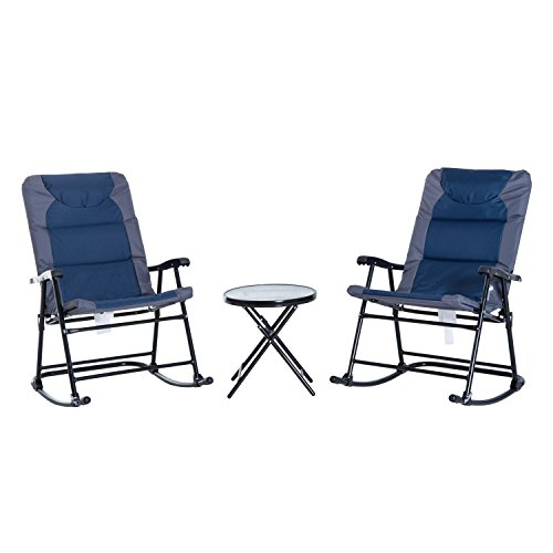 Cheap Outsunny 3-Piece Folding Outdoor Rocking Chair and Table Set – Blue and Grey