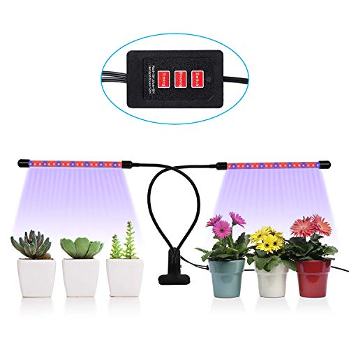 3 Timers 18W Plant Grow Light, GEARGO 5 Dimmable Brightness Levels Grow Bulbs for Indoor Plants, Vegetables, Tomatoes, Lettuce