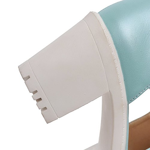 Allhqfashion Femmes Talons Hauts Solide Pull Sur Matériau Souple Bout Ouvert Sandales À Talons Bleu