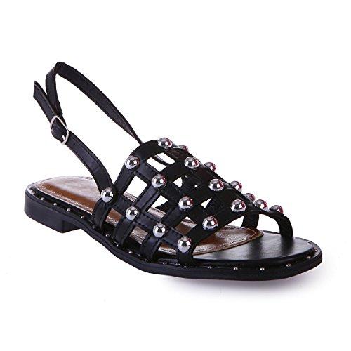 de Noir décoratifs La de Clous Chaussure Modeuse Avant quadrillé orné la et FOxgpqOw