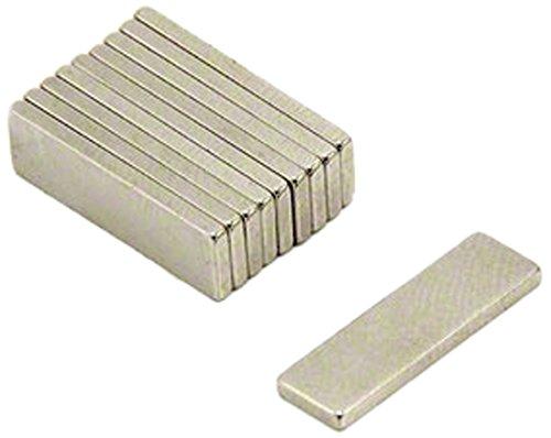 First4magnets F330-N35-10 Neodym-Magneten, 1 kg Ziehen, Packung mit 10, Metall, silber, 20 x 6 x 1,5 mm dicken