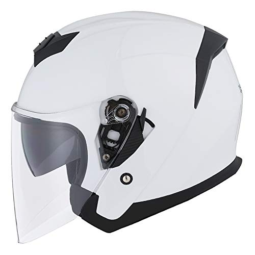 1STORM MOTORCYCLE OPEN FACE HELMET SCOOTER CLASSICAL KNIGHT BIKE DUAL LENS/SUN VISOR GLOSSY White