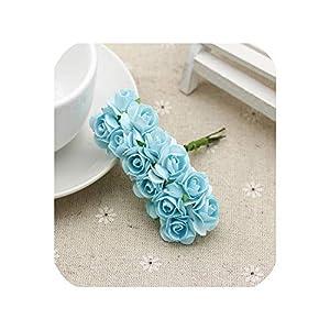 12pcs/Bunch 15mm Diameter Mini Artificial Rose Head Multicolor Flower Bouquet for Scrapbooking Wedding Party Decoration,Sky Blue 31
