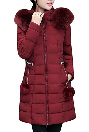 Lucao Winter Faux Fur Hoodie Down Quilted Puffer Jacket Coat WineRed-US-M