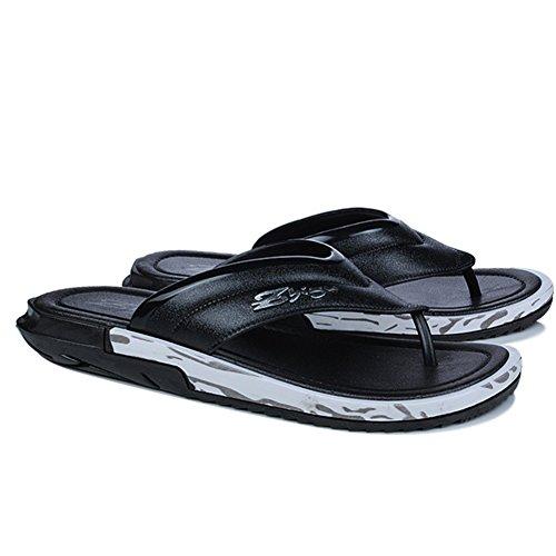 Buganda Menns Flip Flops Lette Slippers Mote Sommer Strand Sandaler Svart