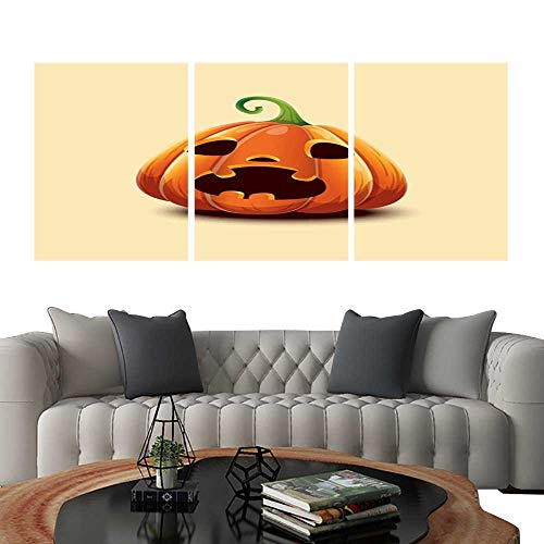 UHOO Modern Canvas Painting Wall Art Happy Halloween Realistic Vector Halloween Pumpkin Scared face Halloween Pumpkin Isolated on Light Background Triple Art Stickers 24