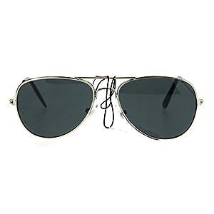 Kids Size Boys Classic Pilot Aviator Metal Rim Police Style Sunglasses Silver Black