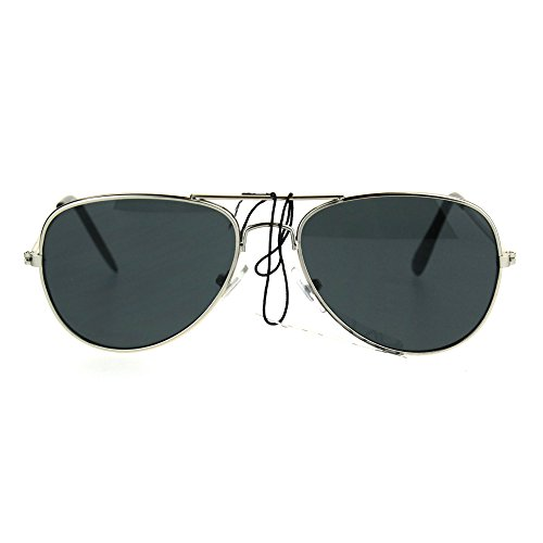 Kids Size Boys Classic Pilot Aviator Metal Rim Police Style Sunglasses Silver - By Sunglasses Police