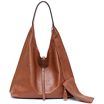 8d81d676d STEPHIECATH Women Vintage Leather Shoulder Bag Large Slouchy Soft Hobo  Handmade Tote Bags Ladies Genuine Leather Bucket Strip Shopping Bag with  Zipper Liner ...