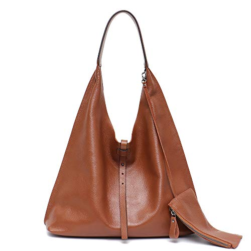 STEPHIECATH Women Vintage Leather Shoulder Bag Large Slouchy Soft Hobo Handmade Tote Bags Ladies Genuine Leather Bucket Strip Shopping Bag with Zipper Liner Bag Inside ()