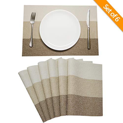 Recet Decor Placemats for Kitchen Table Woven Vinyl Washable Table Mats Placemats Set of 6 (Placemats Beige)