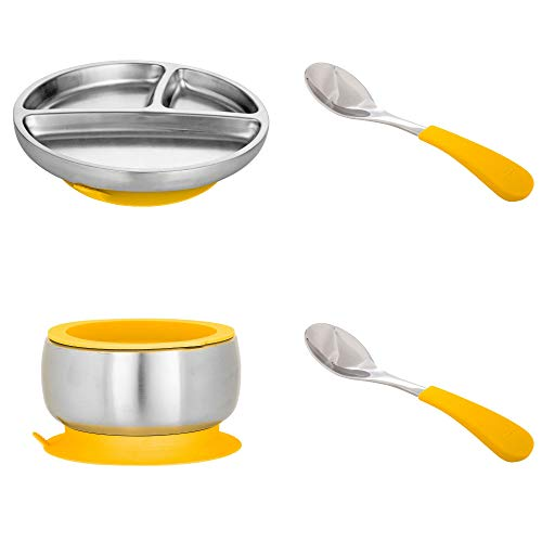 Avanchy Stainless Steel Toddler Feeding Divided Plate Bowl w Silicone Suction 2 Baby, Kid, Child Spoons. Gift Set Yellow