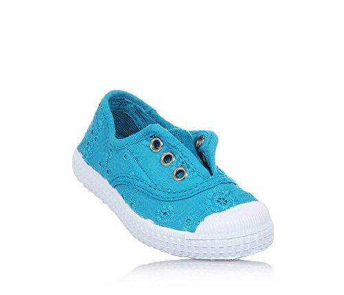 CIENTA - Hellblauer Schuh aus unbehandeltem ökologischem Stoff, Gummispitze, Mädchen