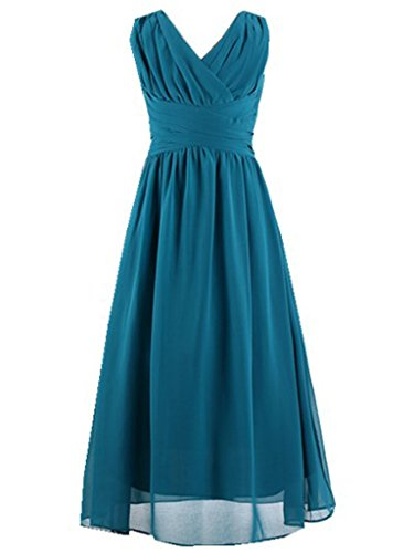 Happy Rose Flower Girl's Dress Party Dresses Juniors Long Bridesmaid Dress Peacock 6