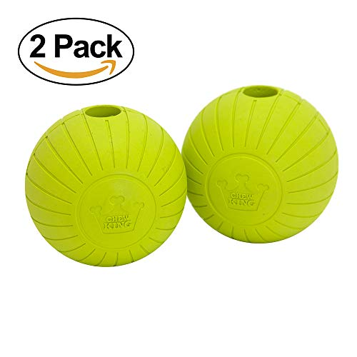 Chew King CM-0272-CS01 Supreme Balls Durable Natural Rubber Toy (2 Pack), 3″, Yellow For Sale