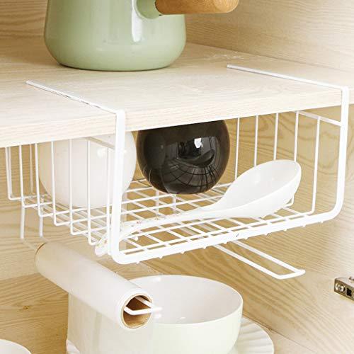 (Gotian Kitchen Storage Bin Under Shelf Wire Rack Cabinet Double-layer Basket Iron Process Hanging Basket Organizer Holder Stand for wardrobes cupboards-26x26x19(±1cm) (White))