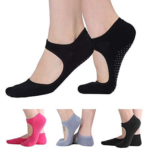 MoreFit Yoga Socks, Non Slip Skid Grips Training Socks for Fitness Pilates Ballet Barre Dance 3 Pairs Pack