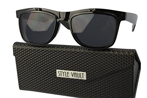 W3031-fc Style Vault Plastic Flip Up Wayfarer Sunglasses (B3325F Black-Dark, - Flip Sunglasses Wayfarer Up